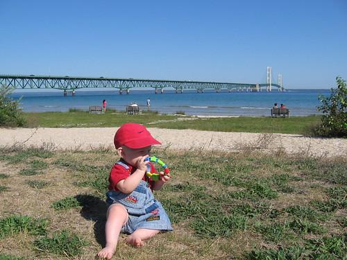 Zach At The Mackinaw Bridge