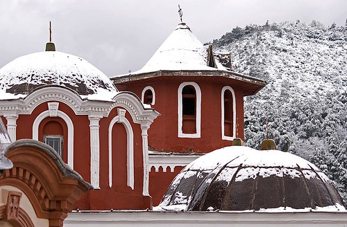 Athonite domes in snow