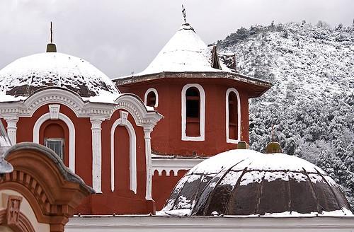 Athonite domes in snow