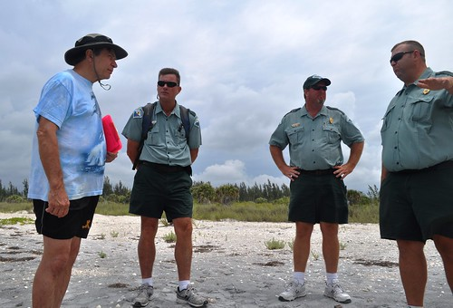 Dr. Beach with Richard Newman, Mark Duncan and Chad Lach at Don Pedro Island State Park, Fla.