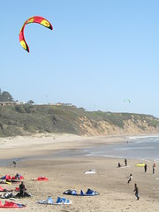 Kite surfers at Waddell Beach, California