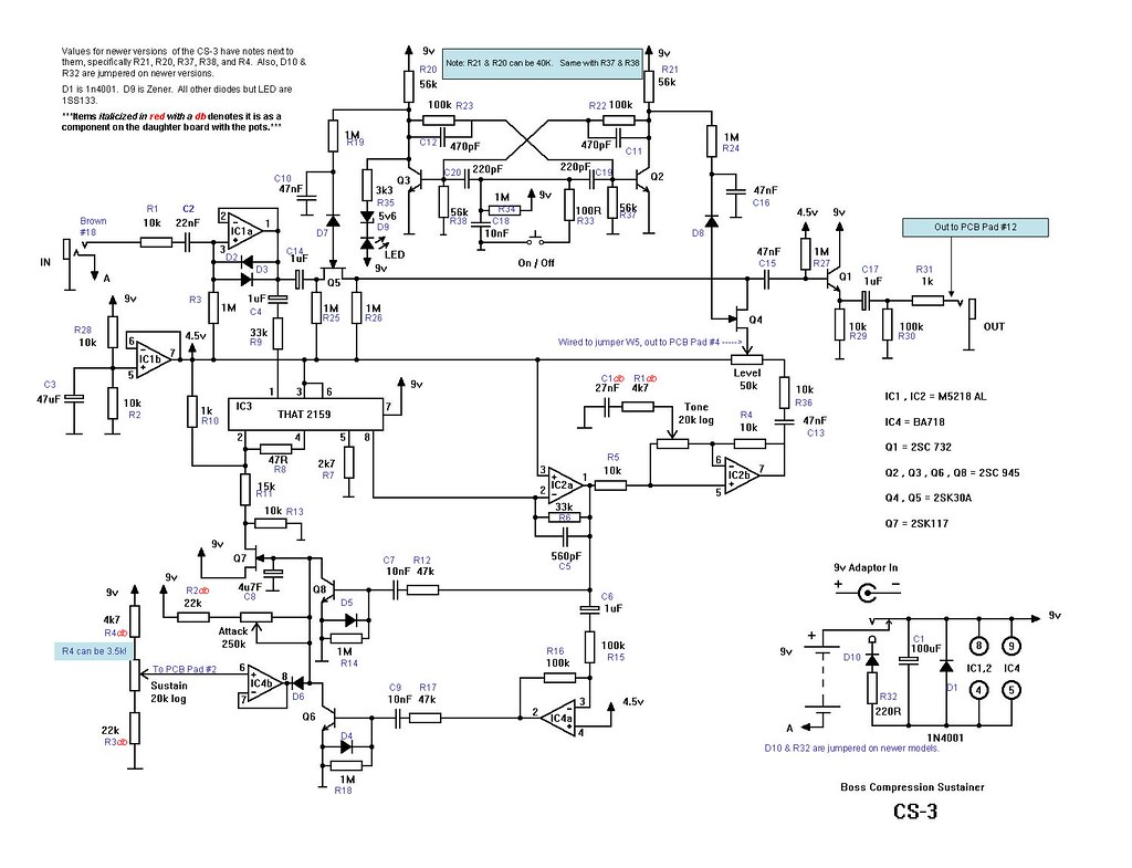 Boss CS-3 Schematic Redrawn