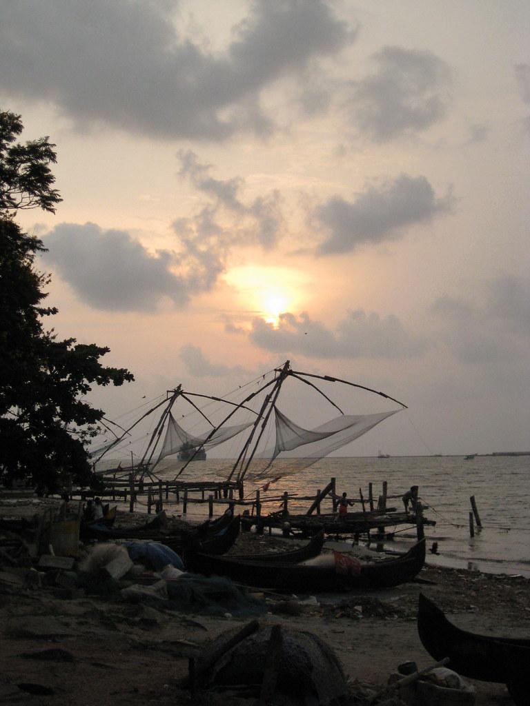 fishing nets near sundown