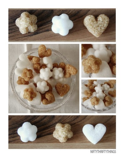 Sugar Cubes in Cute Shapes - Hearts and flowers