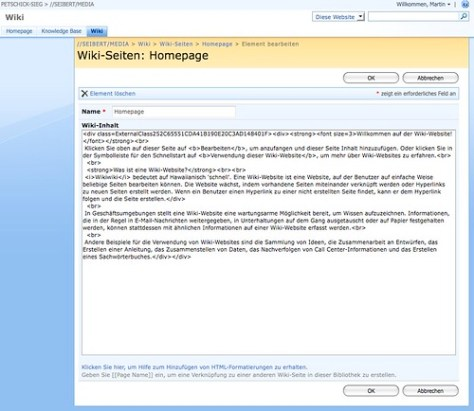 Screenshot of MS Sharepoint without Internet Explorer