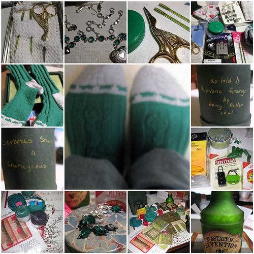 Collage of pictures of my Slytherin HSS swap package from Belladonna Boomslang of Gryffindor