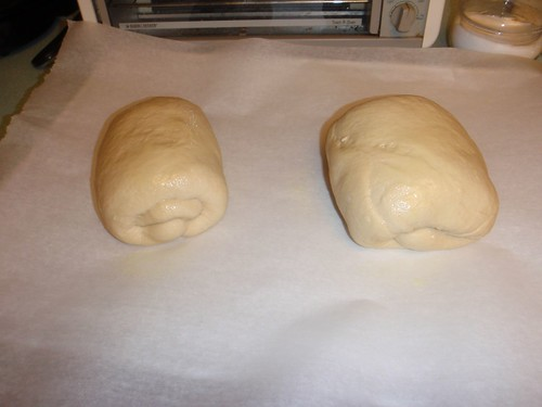 2 loaves of bread, about to go into the frdige for 'retarding'