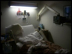 Hospital bed.