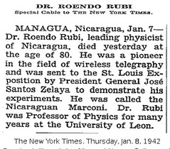 Rosendo Rubi Obituary, 1942, The New York Times