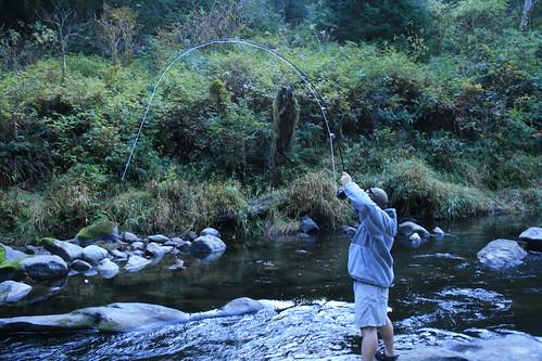 Matt Battles a Coho Salmon