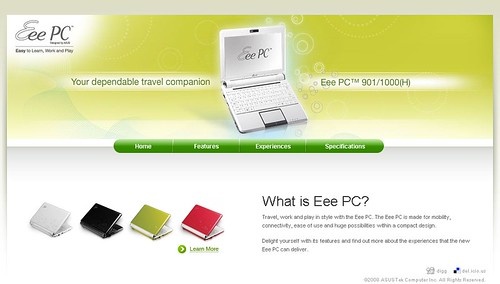 Asus Eee PC v3 microsite - Home Page