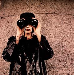 woman with binoculars