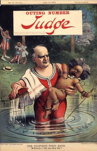 President McKinley bathing the reluctant Filipino in the waters of civilization.
