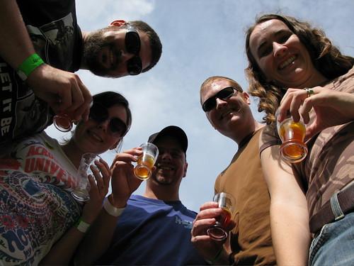 Dix brewer Derrick Franche, Christina Willis, Brewery Creek manager Gerry Erith, Adam and Gillian Gile (Photo © 2008 Rick Green).