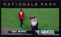 Abe Lincoln clinched the 2008 Washington Nationals Presidents Race title last night at Nationals Park