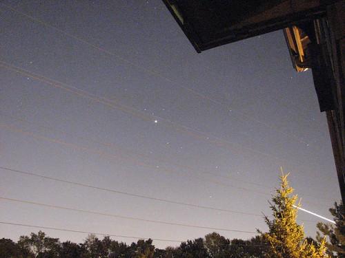 the night sky and jupiter
