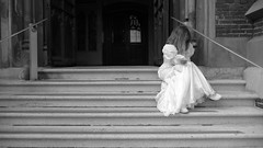 Lonely bride in black and white