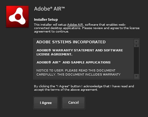 Instalasi Adobe AIR - Persetujuan Lisensi