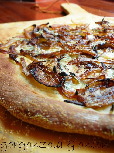 pizza with caramelized onions and gorgonzola