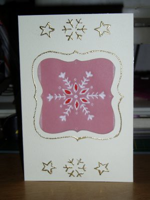 another aperture/parchment paper card. This is also the first one where i cut a bit out of the parchment paper, which works better than i thought it would. The embellishments on the front were created by embossing from behind, then using the freestyle pen with clear embossing ink ontop, with gold embossing powder. Ill be using that technique again i think.