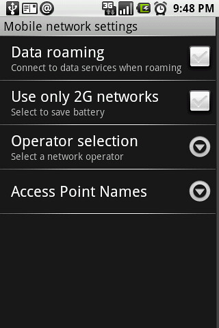 01. Data Roming Settings