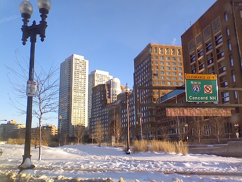 Snow Boston- clear blue skies
