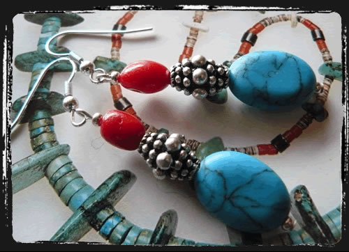 Orecchini corallo turchese - Turquoise and Coral Earrings AMHCCT