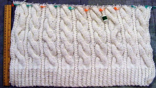 full view of back of cable pullover