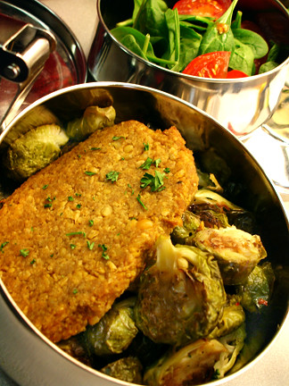 Chickpea cutlet and rejected then hoarded roasted Brussels