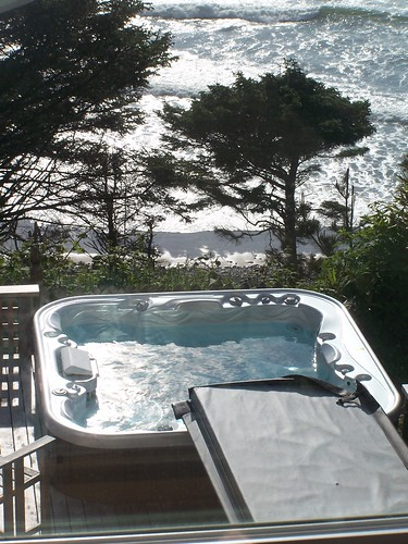 beach house view and hot tub