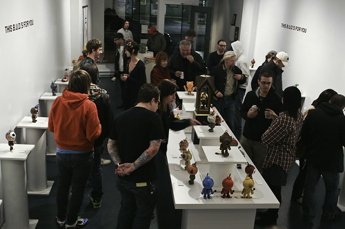 Mark Hero, myself and the gallery crowd talk toy turkey.