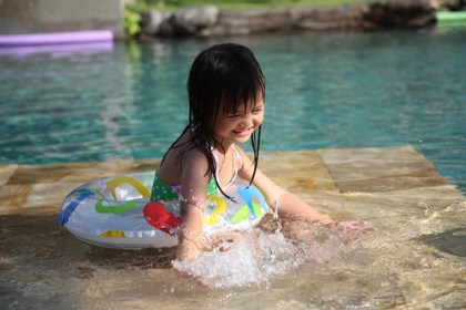 swimming at adi dharma cottage's pool