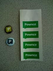 Pownce stickers & pins