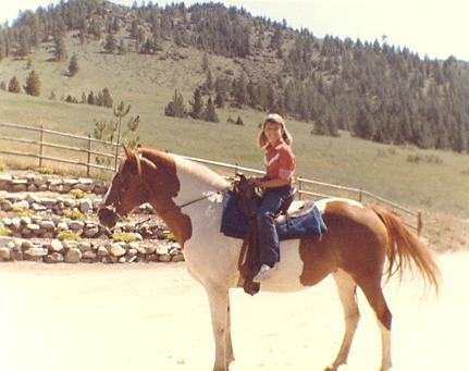 My sis on a horse in Montana, 1982