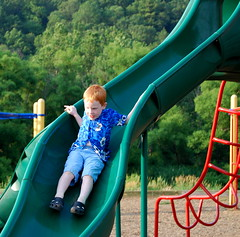 Jacob on the curly slide in Valle Crucis