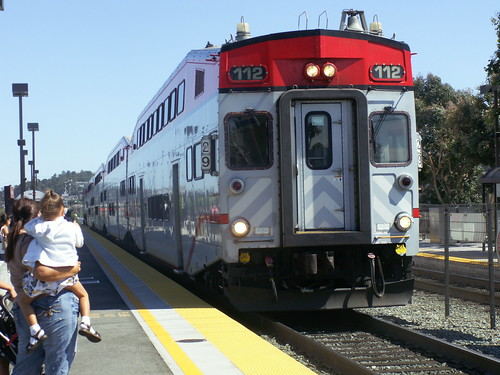Caltrain arriving at station