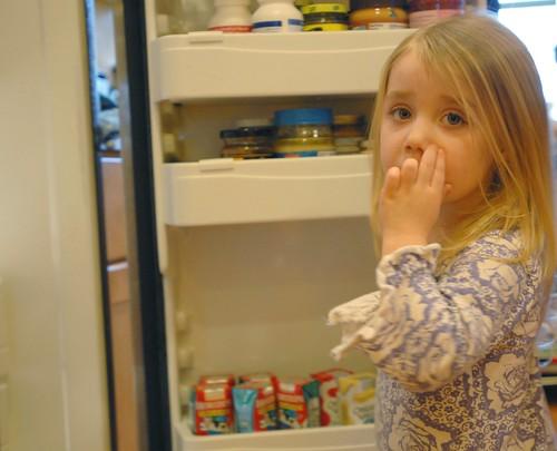 Cassandra raids the fridge.