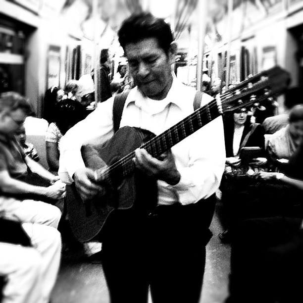He serenades me on the subway.