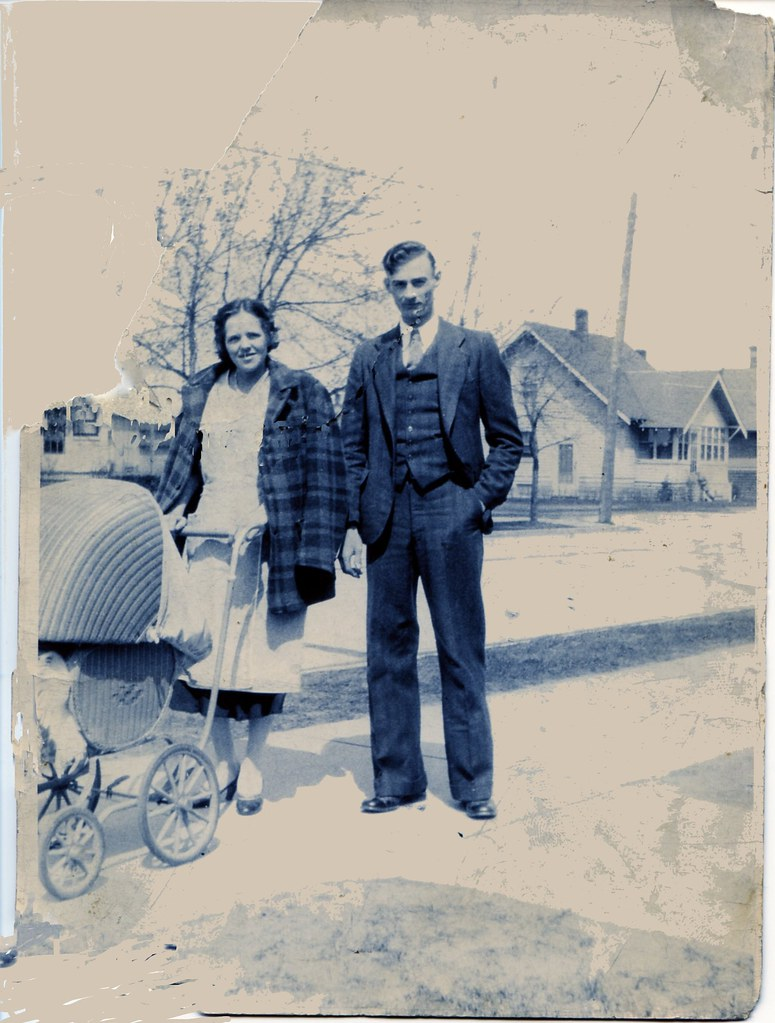 Grandma and Grandpa with a pram