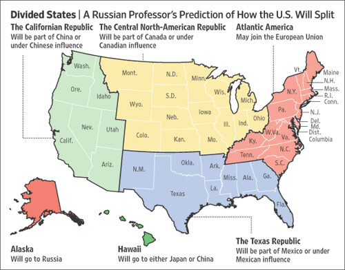 Divided United States map