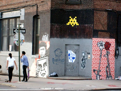 Shepard Fairey murals and a space invader in Williamsburg.