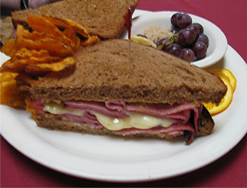 pastrami sandwich and BBQ chips at the Valley Cafe