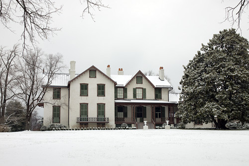 The south facade of the Cottage after the first DC snowfall in 2009.