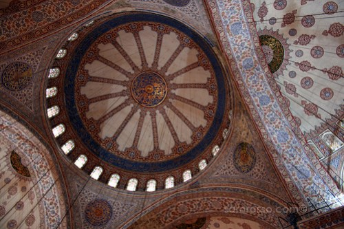Looking up at the tiles in Blue Mosque, Istanbul, Turkey