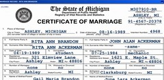 Rita and John's Marriage Certificate