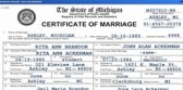 Rita and John's Marriage Certificate