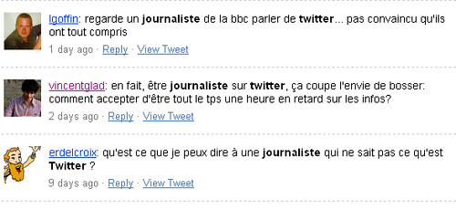 Une recherche avec le terme Twitter journaliste sur Twitter Search