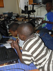 Elizabeth City - Hunter Street - Jimmie and Henry with Studying Kids