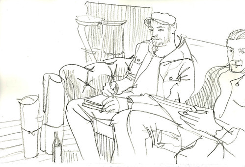 sketching in a bar