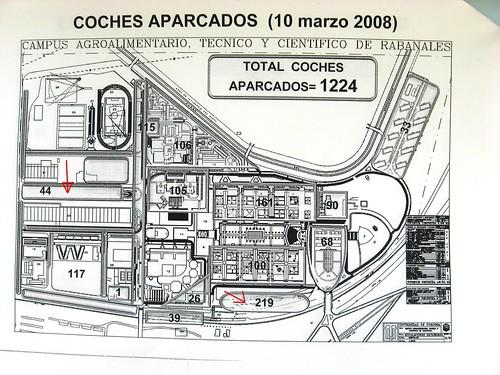 Disponibilidad actual de aparcamientos para cochistas en el Campus de Rabanales.